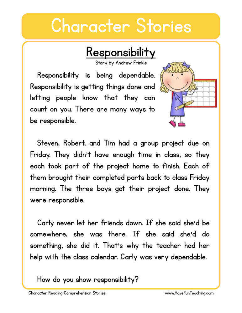 character stories prehension responsibility