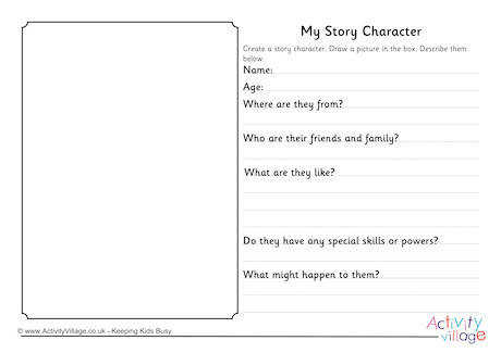 My Story Character Worksheet Guided