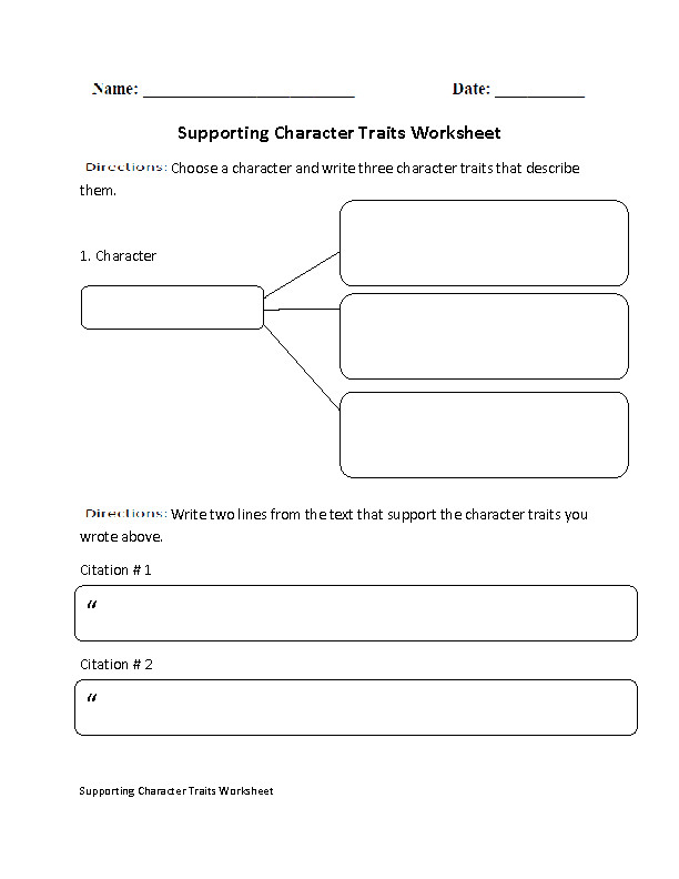 Supporting Character Traits with Citations Worksheet
