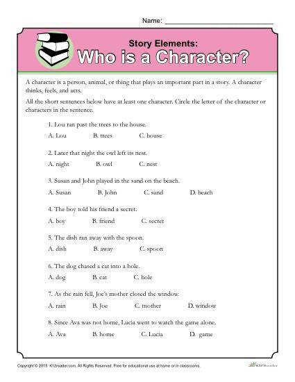 Story Elements Worksheet Who is a Character