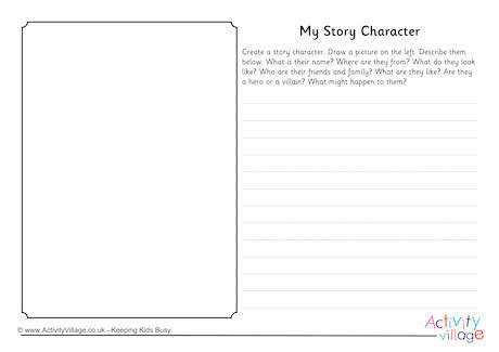 My Story Character Worksheet