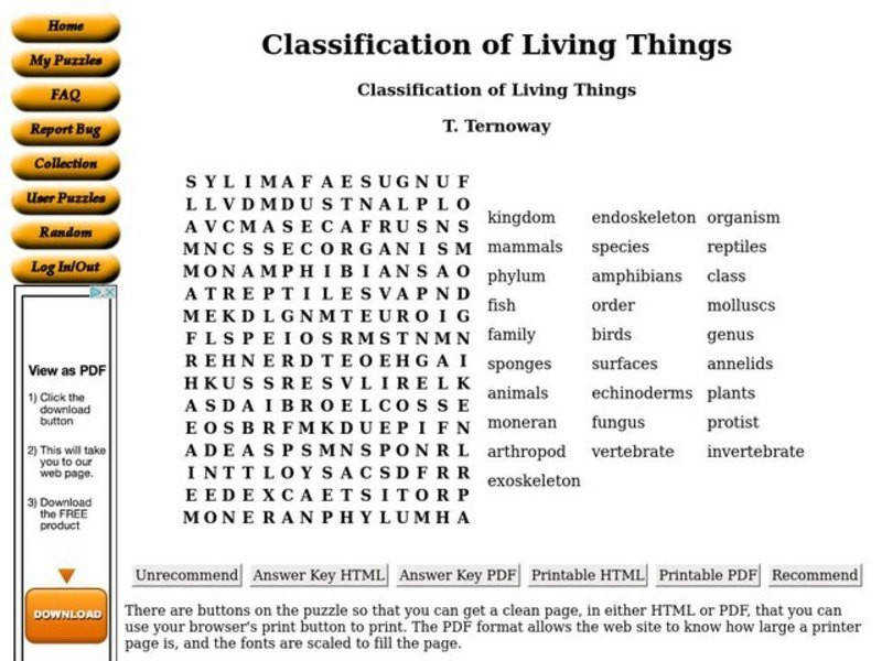 Classification of Living Things 9th 10th Grade Worksheet