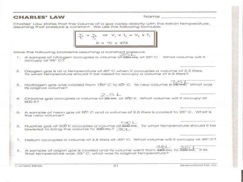 Charles Law Worksheet