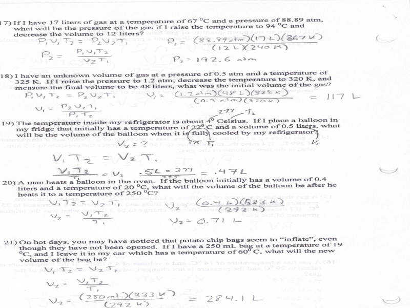 Boyles And Charles Law Worksheet Answers
