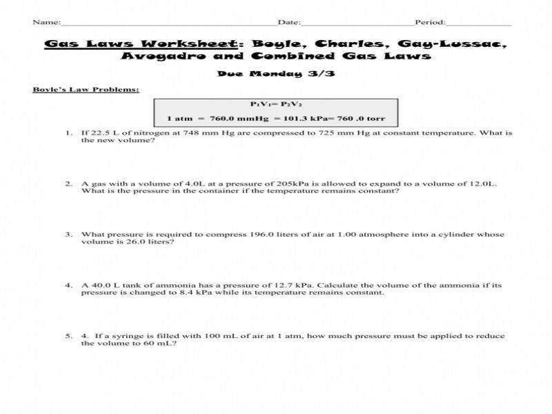 Gas Laws Worksheet 2 Boyle Charles And bined Gas Laws