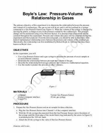 Boyles Law And Charles Law Worksheet Answer Key