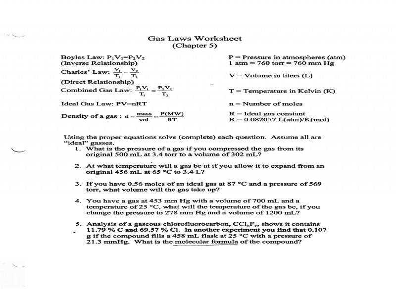 Gas Laws Worksheet New Documents