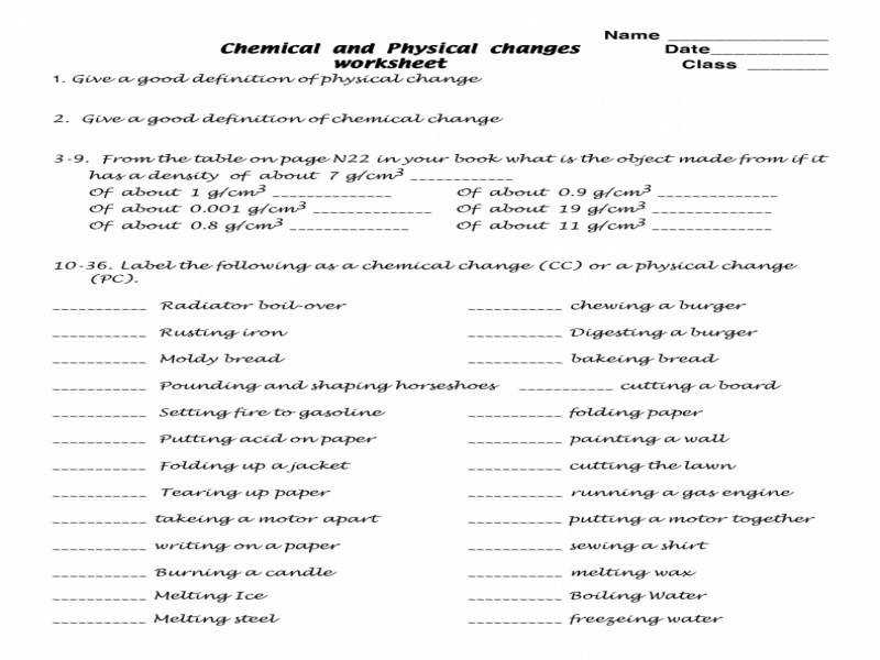 Worksheets Chemical Change Worksheet Atidentity Free