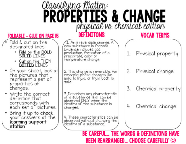 Worksheets Physical And Chemical Properties Worksheet 6th Grade synthesis physical vs chemical properties changes science change