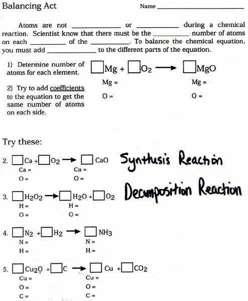 Balanced Chemical Equations worksheet