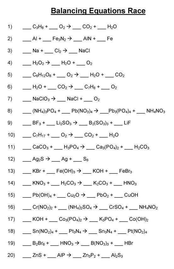 Types Chemical Reactions Worksheet Answers