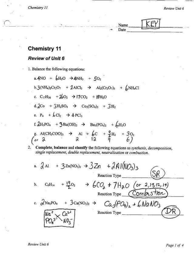 Chemical Reactions Worksheet Answers Templates and Worksheets