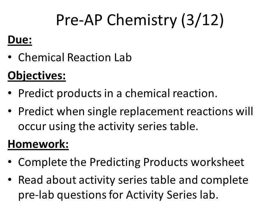 predicting single replacement reactions worksheet answers