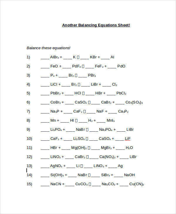 Chemfiesta Balancing Equations Worksheet Balancing Equations Questions and Answers · balancing2 1 GaF 3 1 Na 3 PO 4 1 GaPO 4 3 NaF 2