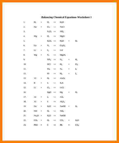 balancing equations worksheet Balancing Chemical Equations Worksheet