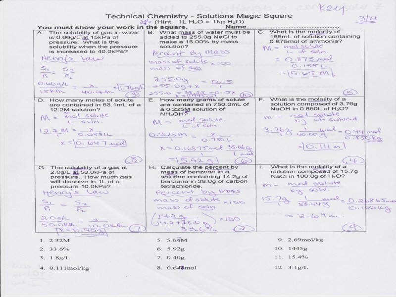 """Chemistry Gas Laws Worksheet Answers"" Neuman Dina Ch 15 Solutions"