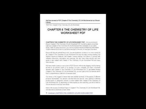 Chapter 6 The Chemistry Life Worksheet