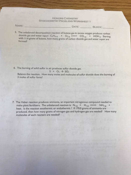 HONORS CHEMISTRY STOICHIOMETRY PROBLEMS WORKSHEET 1 NAME DATE S The unbalanced de position reaction