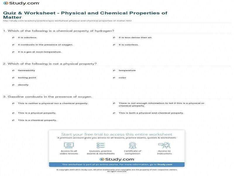 Quiz & Worksheet Physical And Chemical Properties Matter