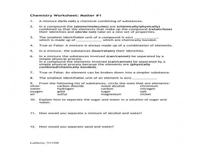 Chemistry Worksheet Matter 1