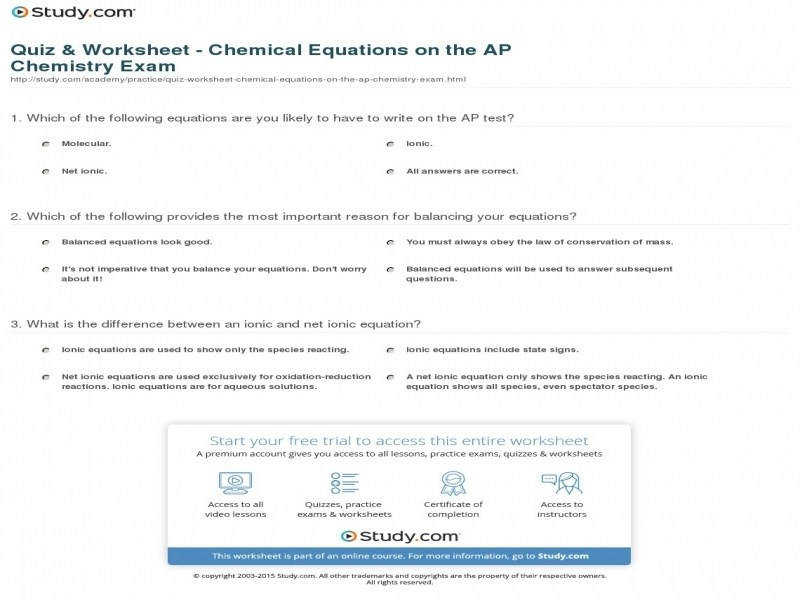 Quiz & Worksheet – Chemical Equations The Ap Chemistry Exam