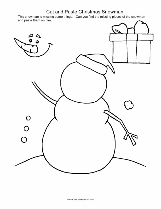 Christmas Cut And Paste Holiday Worksheet Activities 4th Grade Math Worksheets Free Snowman Image 791 4th