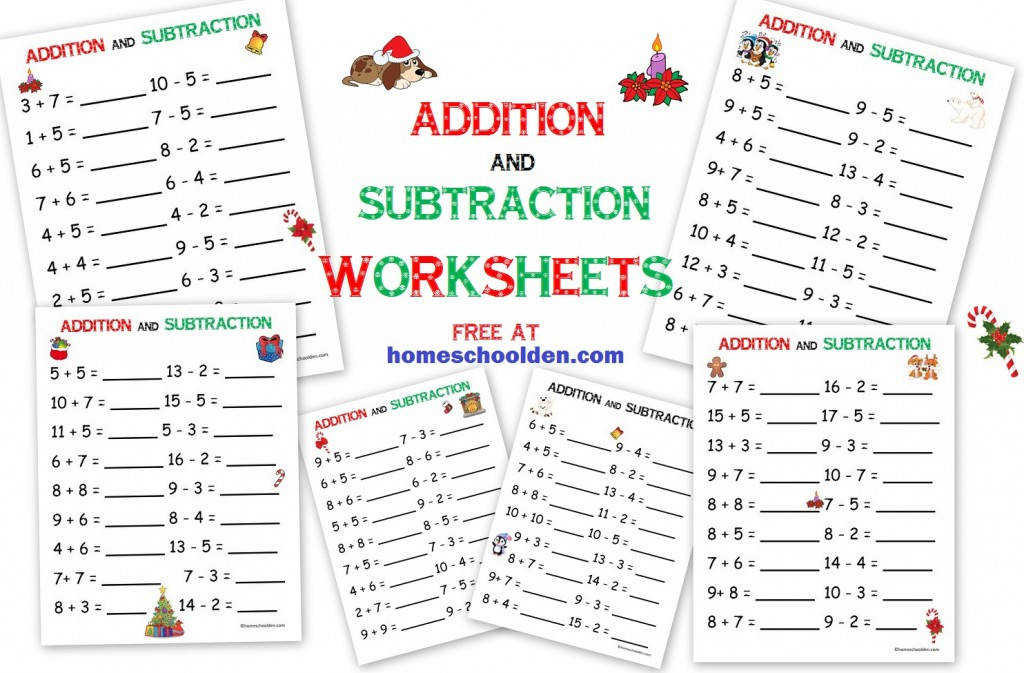 addition subtraction free christmas math worksheets