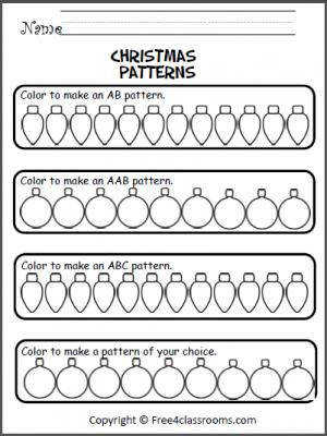 Free Christmas Patterns Worksheet