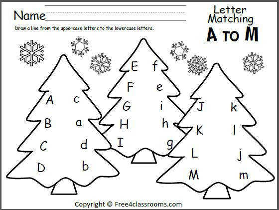Free Tree Letter Matching A to M Great winter and Christmas worksheet for preschool and