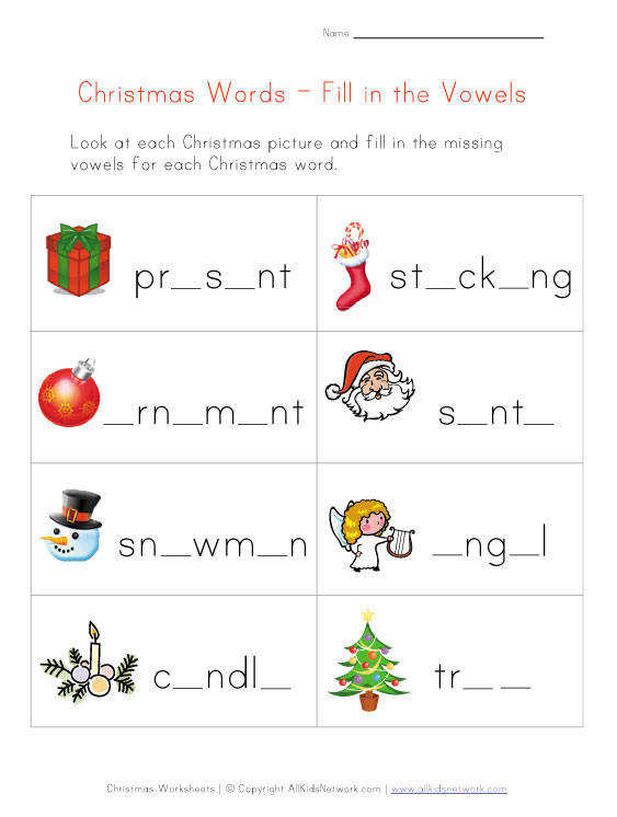 Collection of Christmas Worksheets christmas missing letters worksheet allkidsnetwork