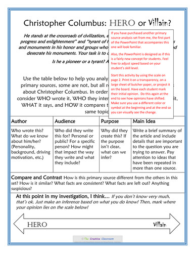Age of Exploration Part 2 Primary Source Analysis Christopher Columbus Hero or Villain by jenna mackay Teaching Resources Tes