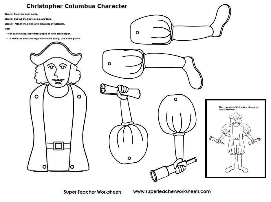 FREE Christopher Columbus color cut and paste craft from Super Teacher Worksheets
