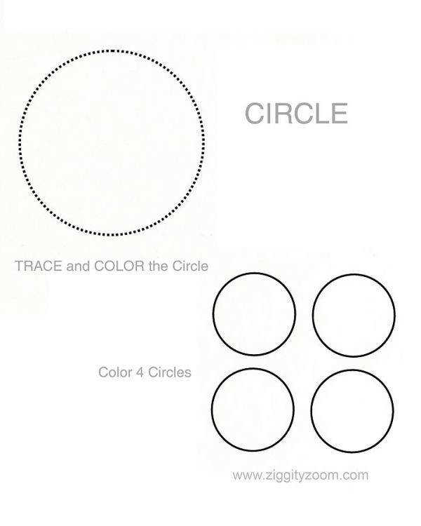 Circle worksheet for learning shapes and numbers