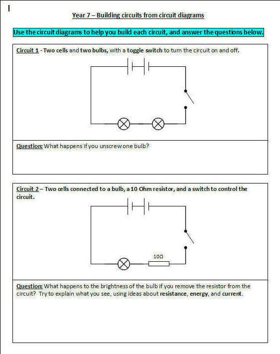 Build each of the circuits on this worksheet