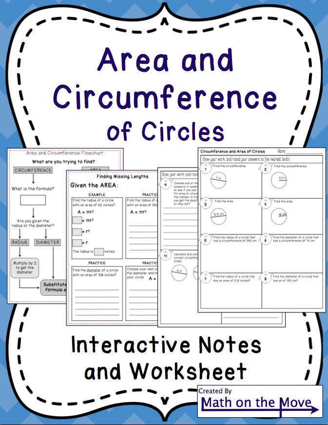Circumference and Area of Circles Interactive Notes Practice and Quiz