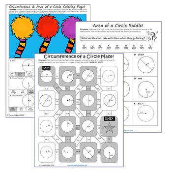 CIRCUMFERENCE & AREA of CIRCLES Maze Riddle Coloring Page Fun Activities