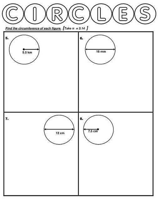 Year 6 Circumference of Circles Worksheet