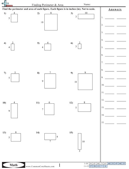Finding Perimeter & Area worksheet