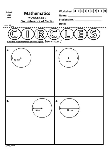 Year 6 Circumference of Circles Worksheet by jinkydabon Teaching Resources Tes