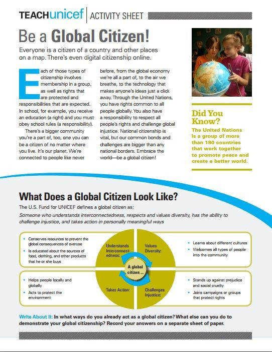 Activity Sheet to Teach about Global Citizenship grades 9 12
