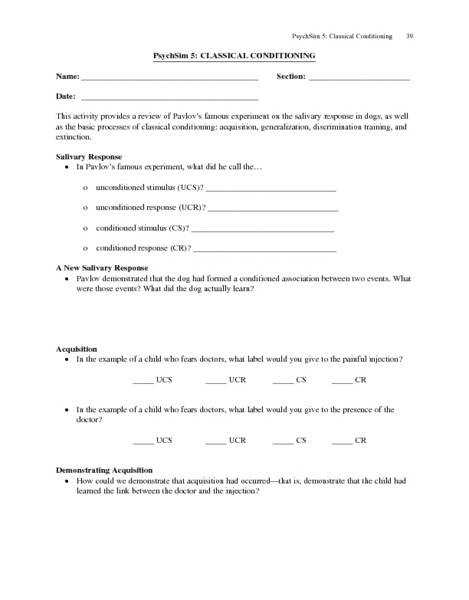 PsychSim 5 Classical Conditioning 9th 11th Grade Worksheet