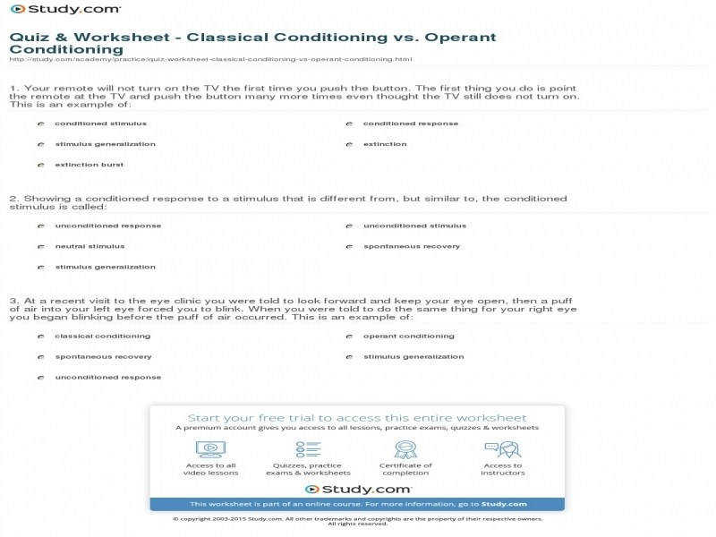 Quiz & Worksheet Classical Conditioning Vs Operant Conditioning