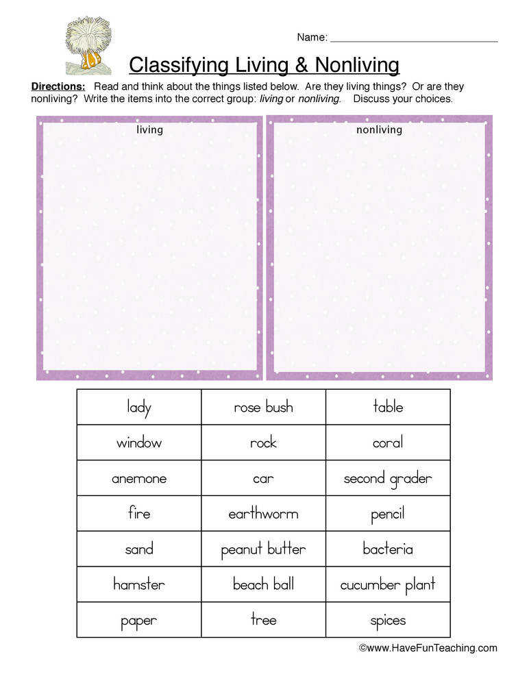 Worksheets Classify Living And Nonliving Things Worksheet classifying living and nonliving things worksheet 1