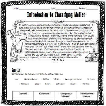Introduction to Classifying Matter Worksheet