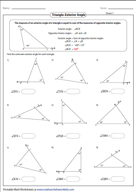 Printable worksheets contain classifying and identifying triangles based on sides and angles area and perimeter