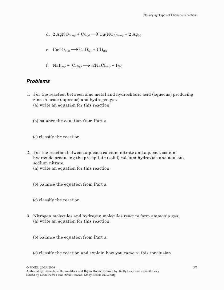 Types Reactions Worksheet Elegant Classifying Types Chemical Reactions original