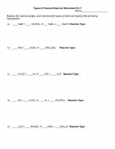 Types Chemical Reactions Worksheet Types Chemical Reaction Worksheet Ch Name Balance The With