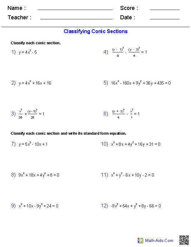 Classifying Conic Sections Worksheets