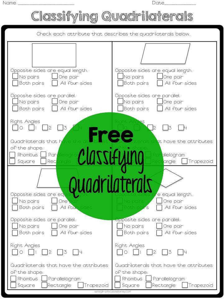 FREE quadrilaterals printable for teaching geometry