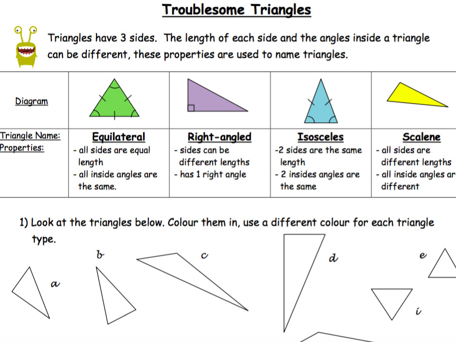 Troublesome Triangles Classifying Triangles Drawing Different Triangle Types by nayanmaya Teaching Resources Tes